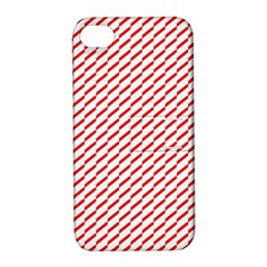 Pattern Red White Background Apple iPhone 4/4S Hardshell Case with Stand