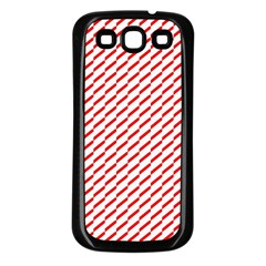 Pattern Red White Background Samsung Galaxy S3 Back Case (Black)