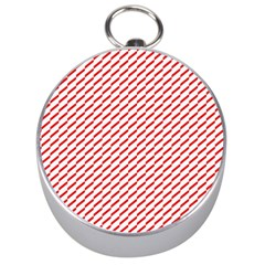 Pattern Red White Background Silver Compasses