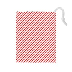 Pattern Red White Background Drawstring Pouches (Large)