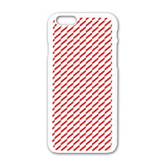 Pattern Red White Background Apple iPhone 6/6S White Enamel Case
