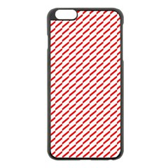 Pattern Red White Background Apple iPhone 6 Plus/6S Plus Black Enamel Case