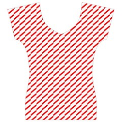 Pattern Red White Background Women s V-Neck Cap Sleeve Top
