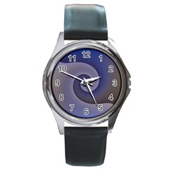 Logo Wave Design Abstract Round Metal Watch