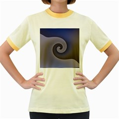 Logo Wave Design Abstract Women s Fitted Ringer T-Shirts