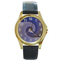 Logo Wave Design Abstract Round Gold Metal Watch