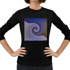 Logo Wave Design Abstract Women s Long Sleeve Dark T-Shirts