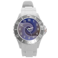 Logo Wave Design Abstract Round Plastic Sport Watch (L)