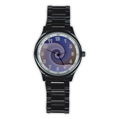 Logo Wave Design Abstract Stainless Steel Round Watch