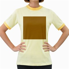 Pattern Honeycomb Pattern Brown Women s Fitted Ringer T Shirts