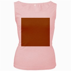 Pattern Honeycomb Pattern Brown Women s Pink Tank Top
