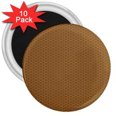 Pattern Honeycomb Pattern Brown 3  Magnets (10 pack)