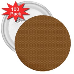 Pattern Honeycomb Pattern Brown 3  Buttons (100 pack)