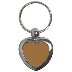 Pattern Honeycomb Pattern Brown Key Chains (Heart)