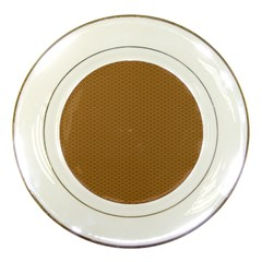 Pattern Honeycomb Pattern Brown Porcelain Plates