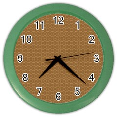 Pattern Honeycomb Pattern Brown Color Wall Clocks