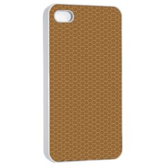Pattern Honeycomb Pattern Brown Apple iPhone 4/4s Seamless Case (White)