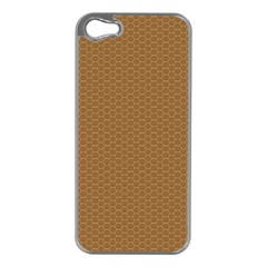 Pattern Honeycomb Pattern Brown Apple iPhone 5 Case (Silver)