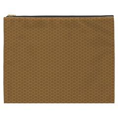 Pattern Honeycomb Pattern Brown Cosmetic Bag (XXXL)