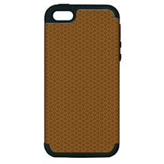 Pattern Honeycomb Pattern Brown Apple iPhone 5 Hardshell Case (PC+Silicone)