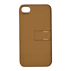 Pattern Honeycomb Pattern Brown Apple iPhone 4/4S Hardshell Case with Stand