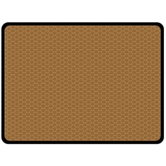 Pattern Honeycomb Pattern Brown Double Sided Fleece Blanket (Large)