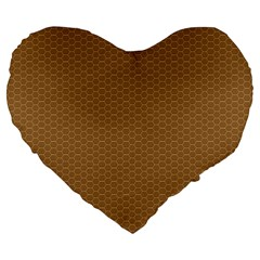 Pattern Honeycomb Pattern Brown Large 19  Premium Flano Heart Shape Cushions