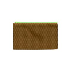 Pattern Honeycomb Pattern Brown Cosmetic Bag (xs)