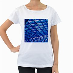 Lines Geometry Architecture Texture Women s Loose-Fit T-Shirt (White)