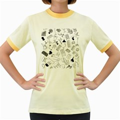 Furniture Black Decor Pattern Women s Fitted Ringer T-Shirts