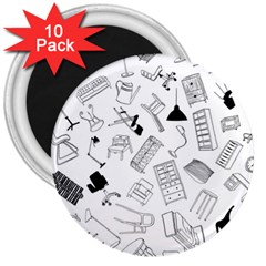 Furniture Black Decor Pattern 3  Magnets (10 Pack)