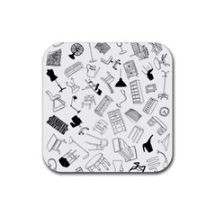 Furniture Black Decor Pattern Rubber Square Coaster (4 pack)