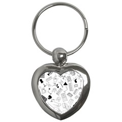 Furniture Black Decor Pattern Key Chains (Heart)