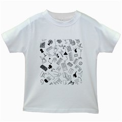 Furniture Black Decor Pattern Kids White T-Shirts