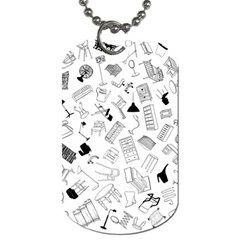 Furniture Black Decor Pattern Dog Tag (One Side)
