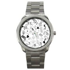 Furniture Black Decor Pattern Sport Metal Watch