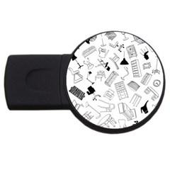 Furniture Black Decor Pattern USB Flash Drive Round (4 GB)