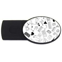 Furniture Black Decor Pattern USB Flash Drive Oval (4 GB)