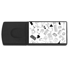 Furniture Black Decor Pattern USB Flash Drive Rectangular (4 GB)