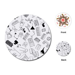 Furniture Black Decor Pattern Playing Cards (Round)