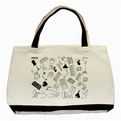 Furniture Black Decor Pattern Basic Tote Bag (two Sides)