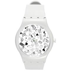 Furniture Black Decor Pattern Round Plastic Sport Watch (M)