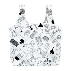 Furniture Black Decor Pattern Full Print Recycle Bags (L)