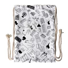 Furniture Black Decor Pattern Drawstring Bag (large)