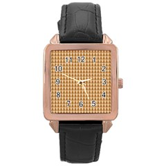 Pattern Gingerbread Brown Rose Gold Leather Watch
