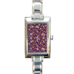 Abstract Background Floral Pattern Rectangle Italian Charm Watch