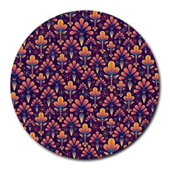 Abstract Background Floral Pattern Round Mousepads