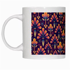 Abstract Background Floral Pattern White Mugs
