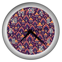 Abstract Background Floral Pattern Wall Clocks (Silver)