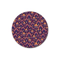 Abstract Background Floral Pattern Magnet 3  (Round)